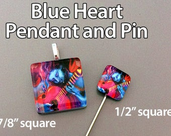 Glass Tile Pendant and Brooch Set. Handmade and signed.  Your choice from 4 designs. One pendant, one brooch.