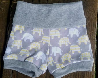 Elephant Shorts / Diaper Cover / Toddler Shorts / baby leggings / newborn to 4t / modern baby clothes