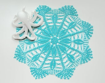 Crochet Doily, tabletop decor, dream catcher supply, framed wall decor, ocean turquoise, heirloom quality, cottage chic, beach house decor