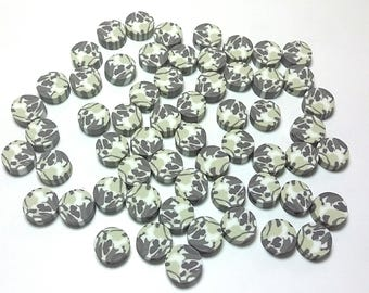 20 Fimo Polymer Clay Coin Round Beads Military Camouflage Print