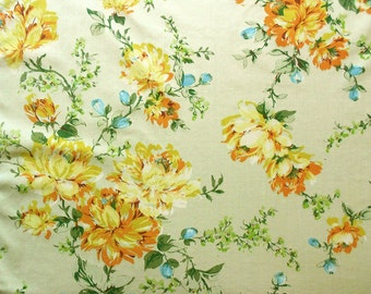 Reserve for Susan: Yellow Flowers on Vintage Sheet Fat Quarter