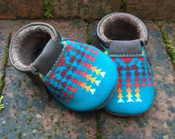 Scout Baby Moccasin 3-6 month // Turquoise Pendleton Wool Leather // Rosebud Originals