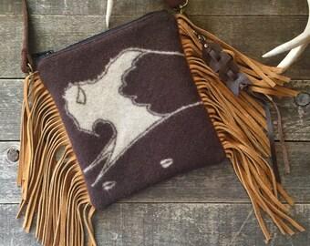 Fringed Crossbody Satchel // Brown Buffalo Pendleton Wool and Suede // Rosebud Originals