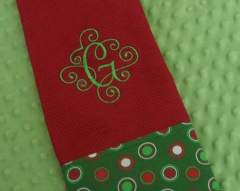 Christmas Personalized  Kitchen or  Hand Towel  -- Personalized  Monogrammed -   Holiday Hostess Gift