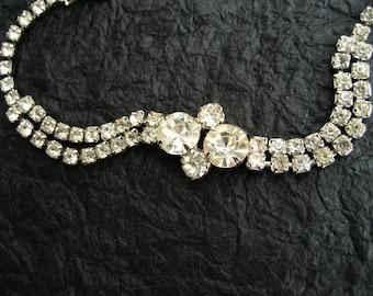 Vintage Rhinestone Tennis Bracelet Crystal Two Strand Prong Set