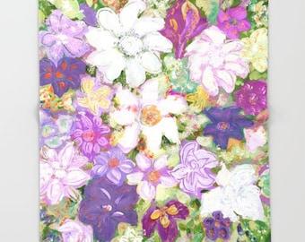 Spring FLORAL Throw Blanket, Modern Bedding, Fleece Blanket, bedspread, vivid colors, artwork print, baby blanket, Colorful Floral Print