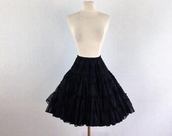 Vintage 50s black petticoat - 1950s black full skirt crinoline - 50s swing dance petticoat