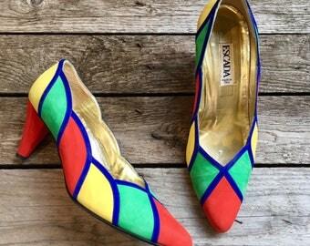 7.5 M   90's Vintage Escada Color Block Heels