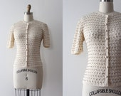 vintage 1930s sweater // 30s 40s sequin short sleeve sweater