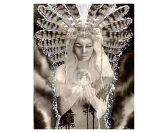 Owl Woman Owl Fylgja Black and White Art Print