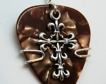 Guitar Pick Jewelry - Brown Guitar Pick with Celtic Cross Charm