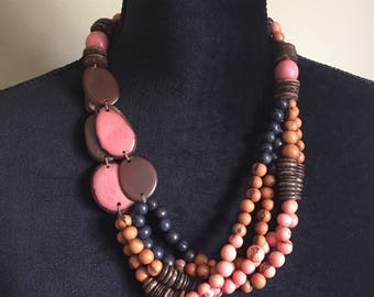 Multi-Strand Necklace/ Tagua Necklace/ Acai Seed Necklace / Ecofriendly and Ecofashion Jewelry