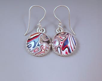 Fordite Earrings- Brilliant Super Swirly- Detroit Agate- Michigan Made- Sterling Silver Drop Earrings-Larger Size