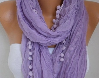 ON SALE --- Lilac Scarf, Lavender, Summer Fashion, Cowl Scarf, Bridesmaid Gift, Gift Ideas For Her, Women's Fashion Accessories