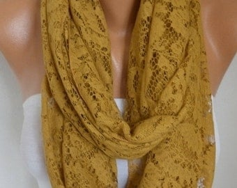 ON SALE --- Mustard Lace Infinity Scarf, Summer Scarf, Cowl ,Circle, Loop, Oversized Gift Ideas For Her, Women Fashion Accessories