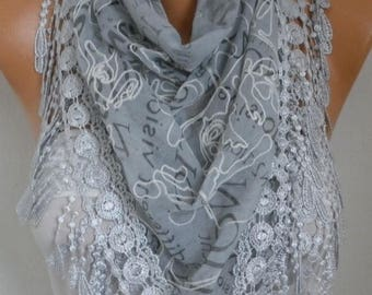 ON SALE --- Light Gray Embroidered Scarf,Fall Winter Accessories, Cotton, Cowl Scarf, Gift Ideas For Her, Women Fashion Accessories Scarves