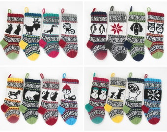 16 Knitting patterns for small Christmas Stockings with fair isle charts with detailed instruction for decorative Santa Sock PDF only
