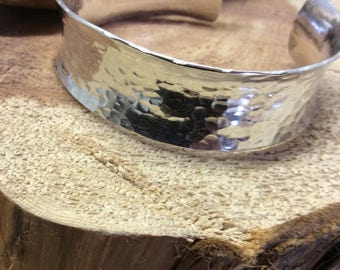 Sterling silver, anticlastic, hammered cuff