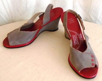 Vintage 1940s Shoes Grey and Red Wedgies Slingbacks Open Toe