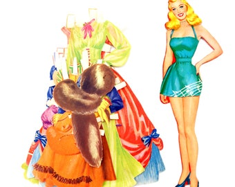 Vintage Paper Doll Blonde Woman with Clothing, 21 pieces (c.1940s) - Doll Ephemera, Collectible Doll, Paper Projects