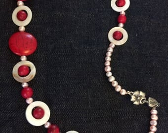 Red coral and shell beaded necklaces
