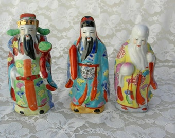 Small Chinese Dieties Fu Lu & Shou, ceramic figurines representing prosperity, status and longevity