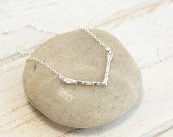 Sterling Silver Hammered Chevron Bar Necklace... Minimalist Everyday