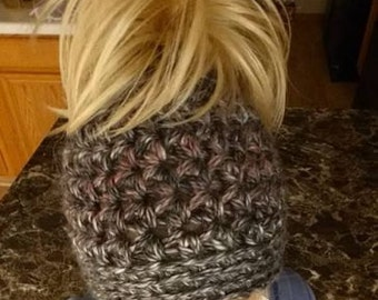 Crochet Chunky Messy Bun Hat with elastic Band Pattern Only
