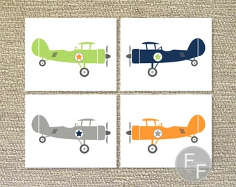 Airplane, Airplane Wall Art, Printable Wall Art, Vintage Airplane, Airplane Decor, Four- File Download
