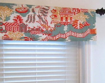 Thibaut Asian Window Valance  Enchantment Luzon Aqua & Coral Handmade in the USA