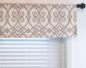 Jaclyn Smith Geometric  Lined Valance  Custom Sizing Available!