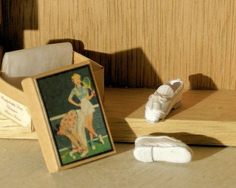 Miniature shoes - Vintage Tennis Shoes - white fabric and  leather