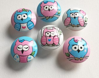 Pink and Blue Owl Drawer Pulls / Dresser Knobs / Closet Handles / Hand Painted for Girls, Nursery Rooms