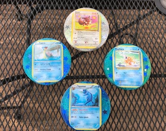Set of 4 custom pokemon card coasters