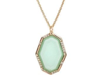 Aqua Abstract Pendant Necklace - Gemstone Necklace - Aqua Chalcedony Necklace
