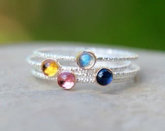 GLITTER GEMSTONE STACKING Ring - Birthstone Ring - Gemstone ring - gemstone stacking rings - birthstone stacking rings