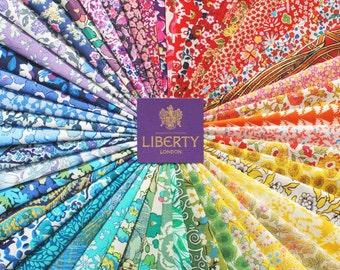 50 Liberty Tana Lawn fabric 5'' Patchwork Charm SQUARES - Rainbow 6
