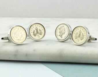 18th & 21st Birthday Five Pence Cufflinks