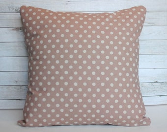 Blush pink throw pillow. Polka dot pillow cover. 20x20 cushion cover. Farmhouse pillow. Shabby chic pillow. Couch cushion. Bed pillow.