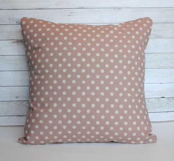 Blush pink throw pillow. Polka dot pillow cover. 20x20 cushion