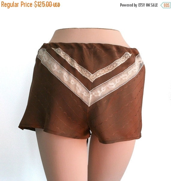 ON SALE Silk Lingerie Shorts Panties Lace / Brown Ivory Chevron Vintage Jacquard / Small - ALMA Garconne Tap Shorts