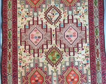 Vintage Fine Art: 1990's Handmade Persian Silk Kilim Soumak- Collectible Heirloom Tapestry Oriental Area Rug 3x5 FT