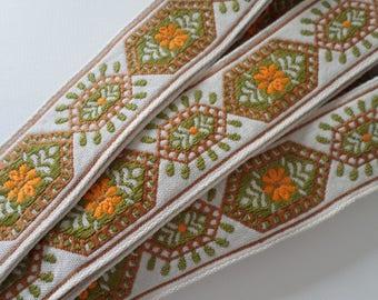 vintage destash embroidered ribbon, brocade trim
