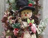 Christmas Wreath, Holiday Wreath, Snowman Swag, Holiday Swag, Country Christmas, Skiing Wreath, Sleigh Bell Swag, Whimsical Christmas Wreath