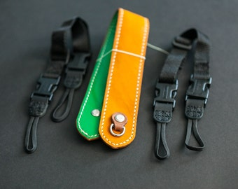 Horween tan and green, Baseball Glove and kelly green, padded camera strap, handsewn leatherwork, made in usa, jacobson leather
