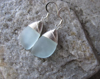 sea glass ear rings coke glass seaglass beach glass jewelry  earrings-bridesmaid earrings- teardrop  earrings