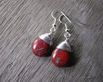 red earrings silver wire wrapped Czech Picasso Glass Red Jewelry simple teardrop