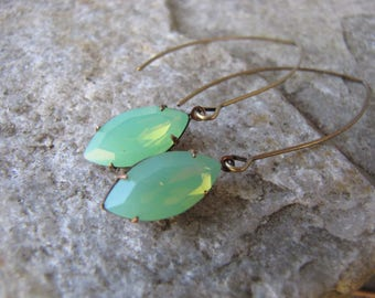 green opalescence earrings glass antique brass v wire hoop shell drop bead extra long dangle jewelry