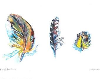 3 Wild Feathers, original watercolor on Yupo, earth tones, jewel tones, realistic painting, professional artist, nature inspired, bird art