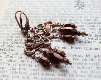 Copper Victorian Bohemian Crown Chandelier Earrings. The Queen of Everything.